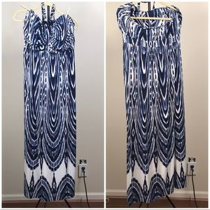 Blue and white maxi dress by Soma, size L
